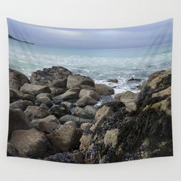 Waves Crashing on Seaweed Covered Rocks Wall Tapestry