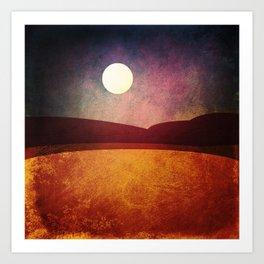 Moon Over The Desert  Art Print
