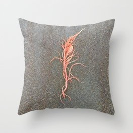 Coral Colored Seaweed Throw Pillow
