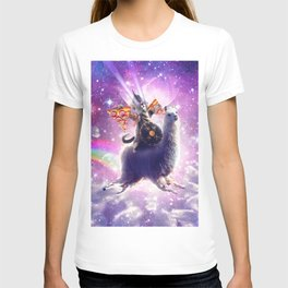 Lazer Warrior Space Cat Riding Llama Eating Pizza T-shirt