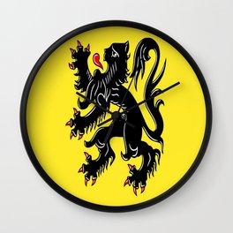 Flag of Flanders - Belgium,Belgian,vlaanderen,Vlaam,Oostende,Antwerpen,Gent,Beveren,Brussels,flamish Wall Clock
