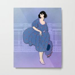 AUDREY: Art Deco Lady in Blue and Pink Metal Print