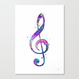 Treble Clef Sign Watercolor Print Blue Purple Wall Art Poster Music Poster Canvas Print