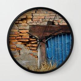 OLD BRICK WALL AND BLUE TARP WINDOW BHAKTAPUR NEPAL Wall Clock
