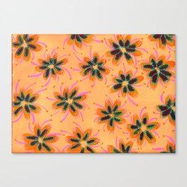 Orange Mint Lillies Canvas Print