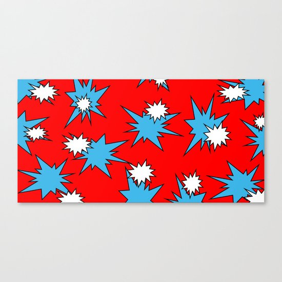 Stars (Blue & White on Red) Canvas Print
