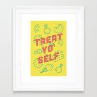 treat yo self Framed Art Prints featuring Treat Yo' Self by Zeke Tucker