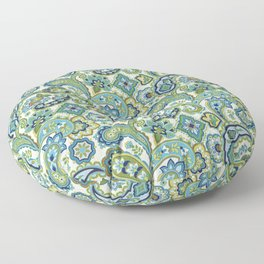 Blue and Green Paisley Floor Pillow