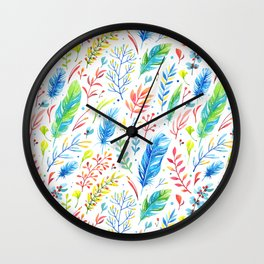 Bright Colorful Boho Floral Pattern Wall Clock