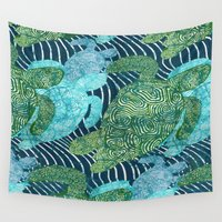 turtles Wall Tapestries featuring sea turtles by Ariadne