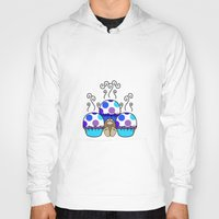 polkadot Hoodies featuring Cute Monster With Blue And Purple Polkadot Cupcakes by Mydeas