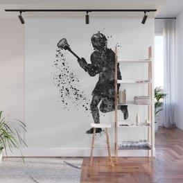 Boy Lacrosse Black Watercolor Sports Art Wall Mural