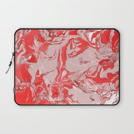 Red and white Marble texture acrylic Liquid paint art Laptop Sleeve
