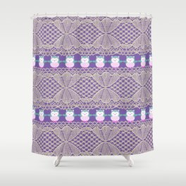Vintage ivory purple floral lace cute funny owls Shower Curtain
