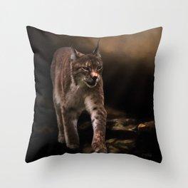 Into The Light - Lynx Art Throw Pillow