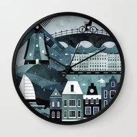 travel poster Wall Clocks featuring Amsterdam Travel Poster by ClaireIllustrations