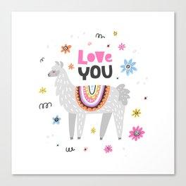 Love you lama Canvas Print