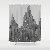 buildings Shower Curtains featuring Buildings & Mountains  by parallelish