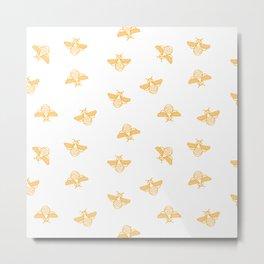 Bee pattern in gold yellow Metal Print