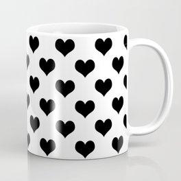 White And Black Heart Minimalist Coffee Mug
