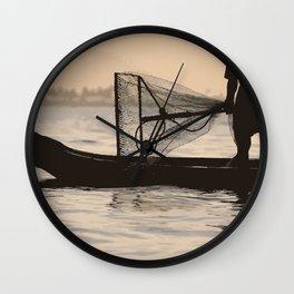 Indian Fisherman on Lake Wall Clock