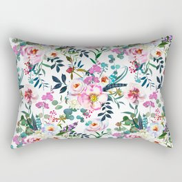 Pink purple green white watercolor bohemian feathers floral Rectangular Pillow