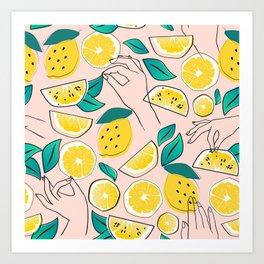 In Lemons We Trust #pattern #illustration Art Print