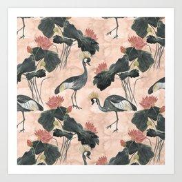 lotus and cranes Art Print
