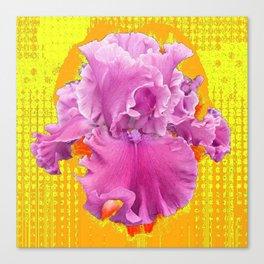 FRILLY PINK BEARDED IRIS YELLOW ART Canvas Print