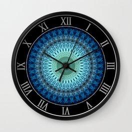 Light blue mandala with a bit of green Wall Clock