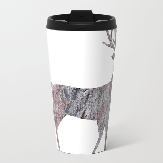 deer silhouette stag pine bark Metal Travel Mug