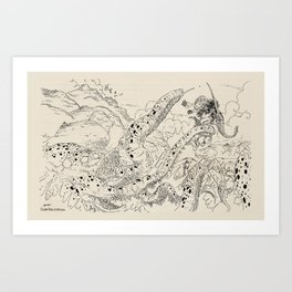 Bataille contre le Kraken / Fighting the Kraken Art Print