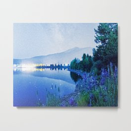 Grainy Nighttime Blues // Lake View Fuzzy Lens Photograph Beautiful Landscape with Mountains Metal Print