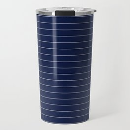 Navy Blue Pinstripe Lines Travel Mug