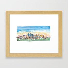 Kansas City Missouri Colorful Impressionistic USA Skyline Painting Framed Art Print