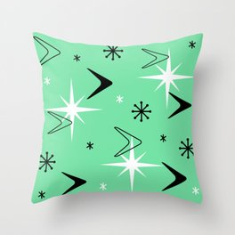 Vintage 1950s Boomerangs and Stars Mint Green Throw Pillow