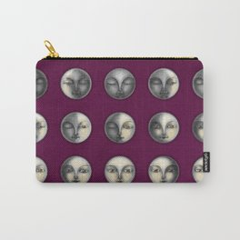 moon phases on dark purple Carry-All Pouch