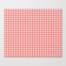 Coral Houndstooth Canvas Print