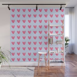 Pink hearts on blue Wall Mural