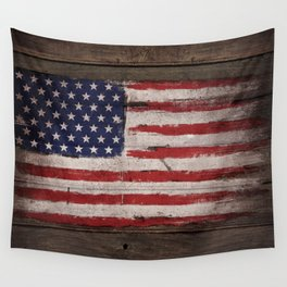 Wood American flag Wall Tapestry