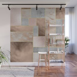 Copper and Blush Rose Gold Marble Quadrangle Geometrical Shapes Wall Mural