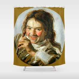 "Frans Hals ""Boy holding a Flute (Hearing)"" Shower Curtain"