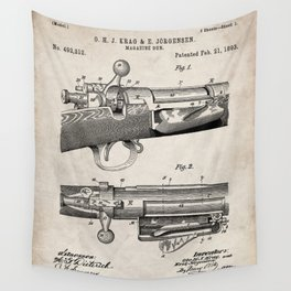 Bolt Action Rifle Patent - Repeating Receiver Art - Antique Wall Tapestry