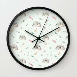 Light mint green pink white cute easter bunny floral Wall Clock