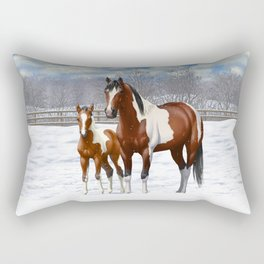 Bay Paint Horse Mare and Foal In Winter Rectangular Pillow