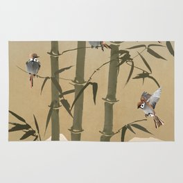 Sparrows And Bamboo Rug