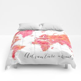 "Adventure Awaits watercolor world map in hot pink and orange, ""Tatiana"" Comforters"