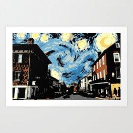 Main Street Lexington Starry Night Art Print