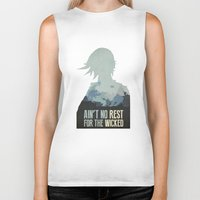 borderlands Biker Tanks featuring Borderlands 2 - Ain't No Rest for the Wicked by Art of Peach