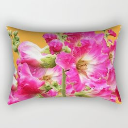 Fuchsia Pink Holly Hocks Pattern Orange Color Floral Art Rectangular Pillow